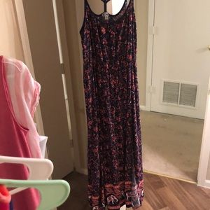 Navy and coral elephant maxi dress